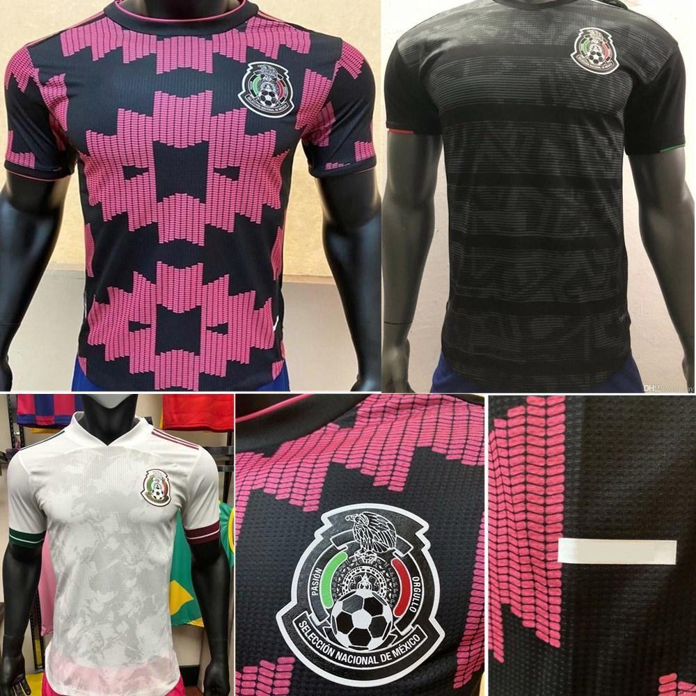 20 21 Versão do jogador México Jerseys de futebol Home Away H.Lozano dos Santos Chicharito 2020 2020 2020 2021 Homens negros Kit Futebol Uniforme Camisas