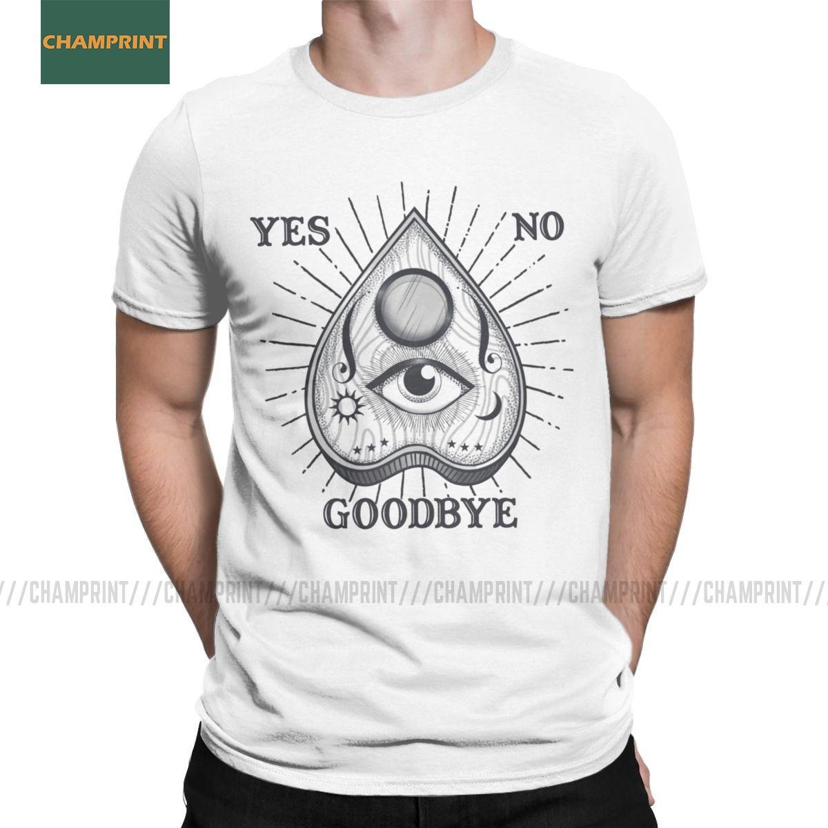 Sim Não Adeus Magia Ouija Planchette T-shirt dos homens Witch Espírito Horror Goth Morto algodão camiseta manga curta camiseta Plus Size
