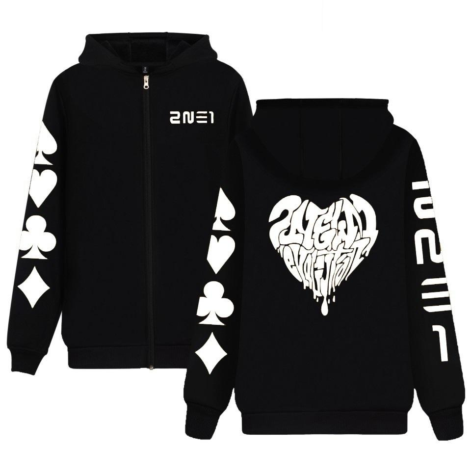 Kpop 2NE1 invernale con cappuccio Park Bom Chae Lee manica lunga zip giacca Hoody Pullover Drop Shipping