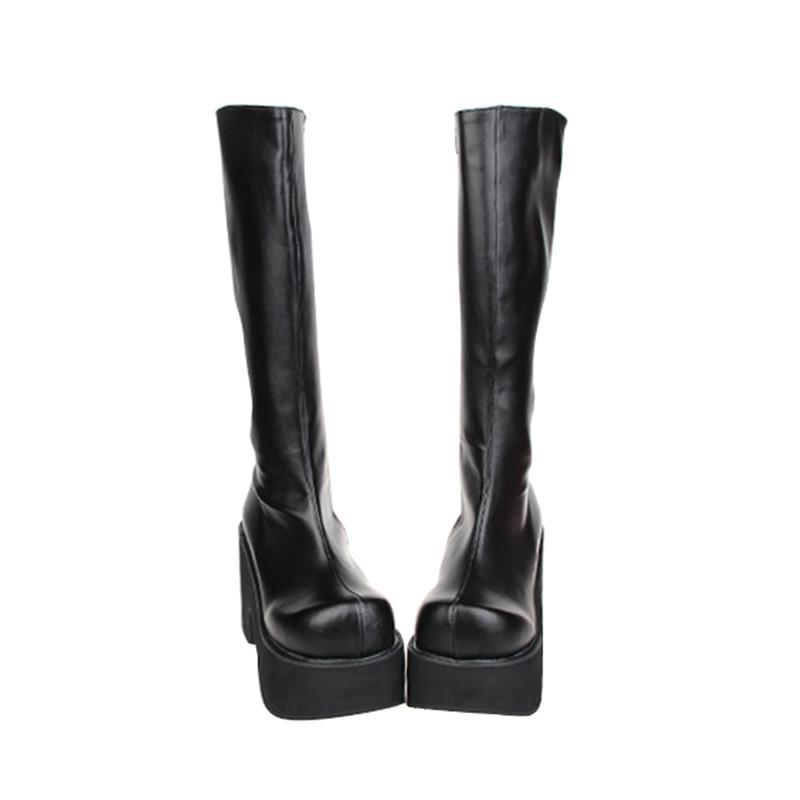 Prinzessin süß Punk Schuhe Lolita Punkwind dicke Stiefel Muffin unten Super-Ferse runder Kopf seitliche Reißverschluss Frauen pu9651