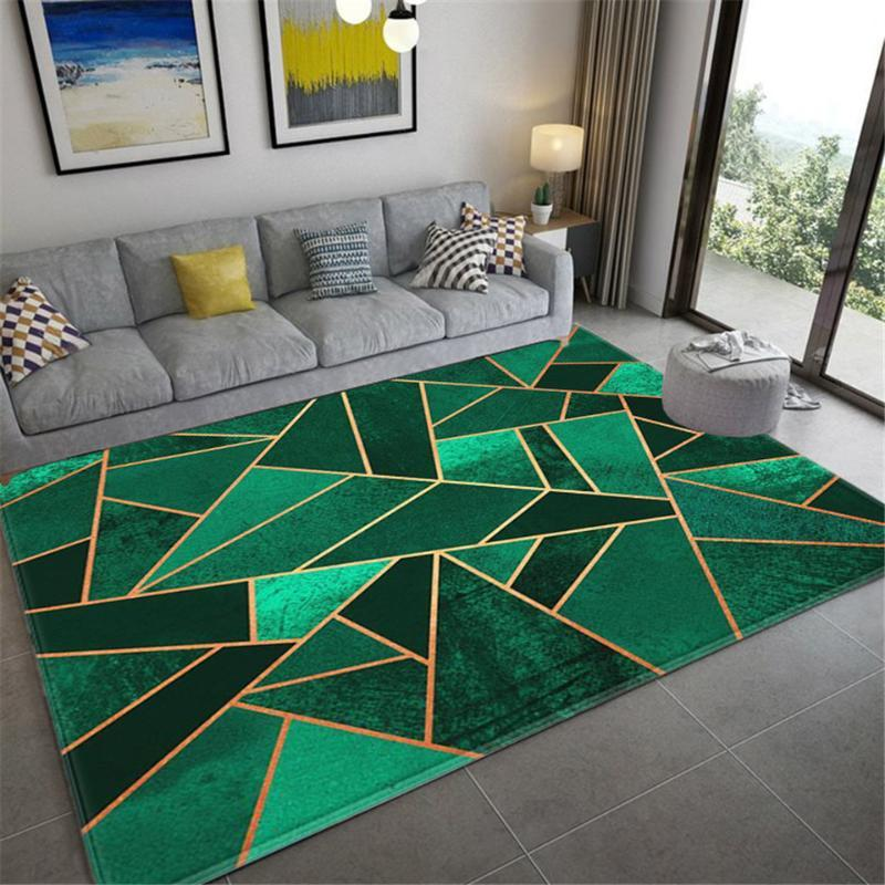 الأخضر الداكن السجاد غرفة المعيشة 3D مطبوعة الهندسية البساط الطابق ماتس الشمال السجاد الرخام نمط بساط عدم الانزلاق