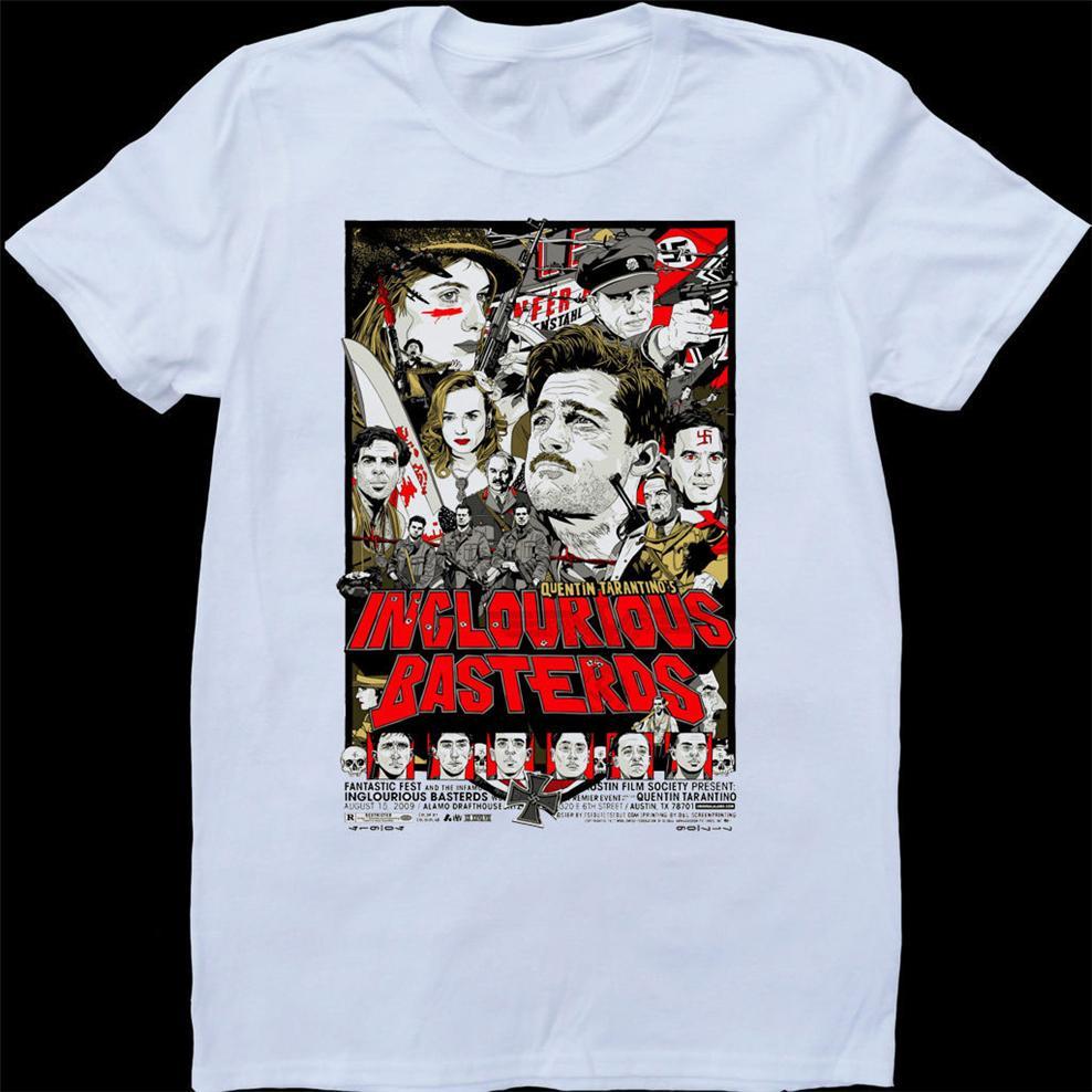 Бесславные ублюдки Белого сшитое T-Shirt Дышащих Tee Shirt