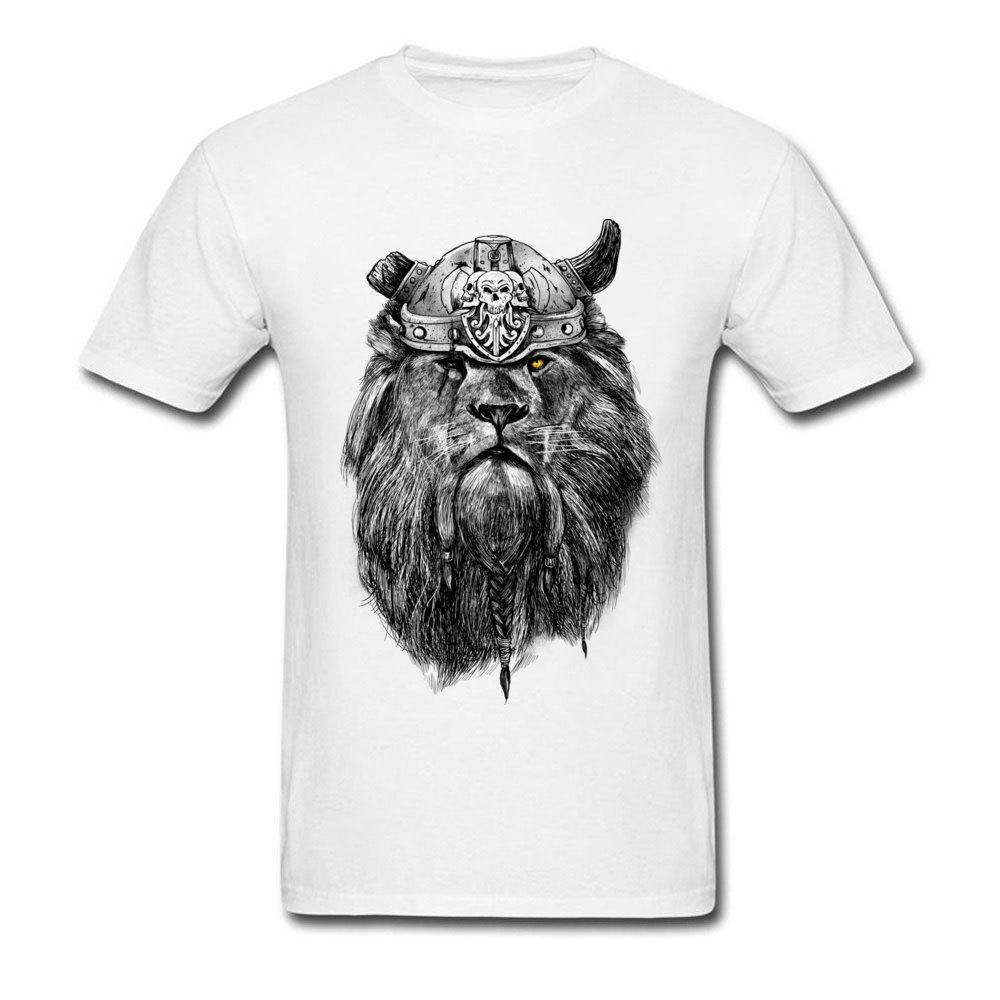 Cool Fashion T Shirt manica corta estate T-shirt girocollo Via del tessuto di cotone giovane vichingo magliette del leone ha stampato le magliette