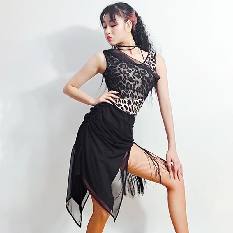 Latin Dance Dress Women Sleeveless Leopards Latin Dance Tops for Ballroom Samba Tango Chacha Dancing Performamnce LP542