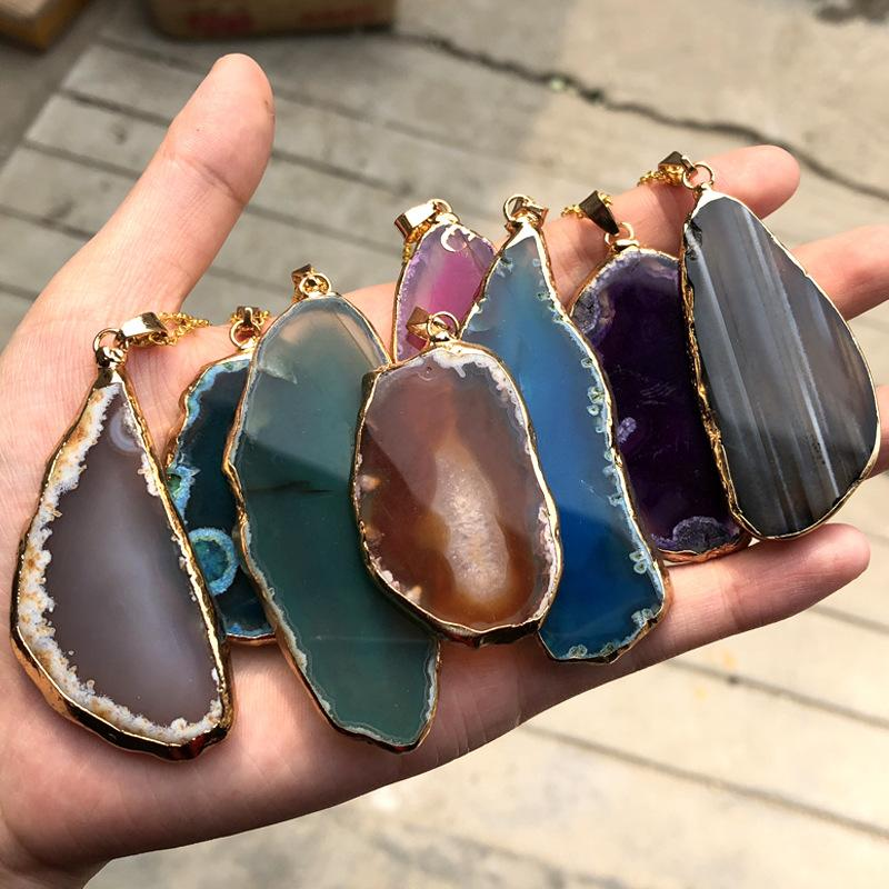 New Colorful Natural Agate Crystal Landscape Slice Irregular Hanging DIY Charm Pendant Jewelry for Women Party Wedding Gift
