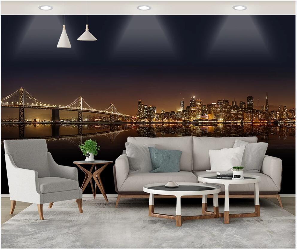 Personalizado mural de foto 3D Wallpaper Cidade moderna construção de ponte de visão noturna casa decoração quarto wallpaper viver para paredes 3 d em rolos