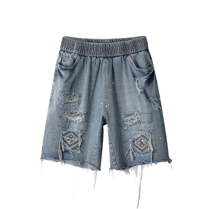 Streetwear Fashion Mens Tribal Aztec Patch Denim Shorts Destroy Summer Short Jeans HipHop