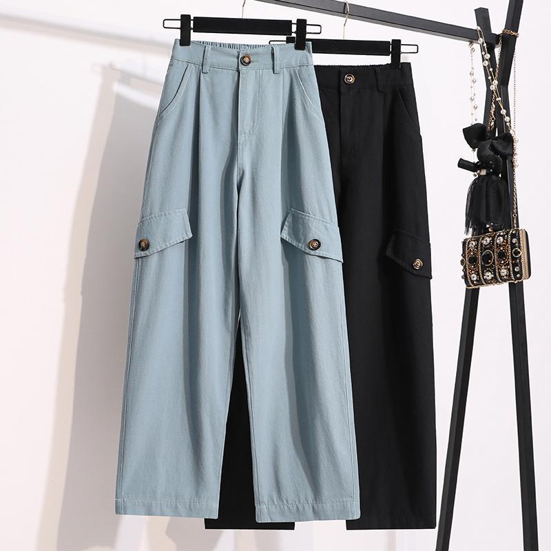 синий комбинезон черные свободные брюки женщина высокой талии Женщина плюс Большой размер бойфренд одежды 2020 брючный D0240 Женской