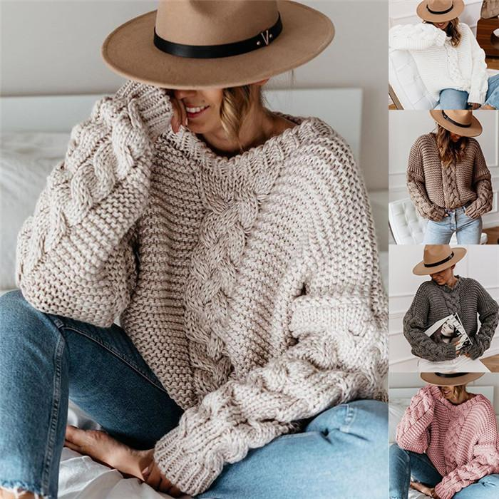 Lose Pullover Damen Designer O Neck Pullover stricken Pullover Solid Color Herbst-Winter-Frauen Lässige Kleidung