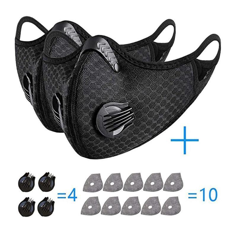 2 pezzi cotone Fase Maksk con 10pcs filtri 4 pezzi Valvole lavabile e riutilizzabile Maksk Per germe di protezione adulti Sciarpa Bandiera Bandana