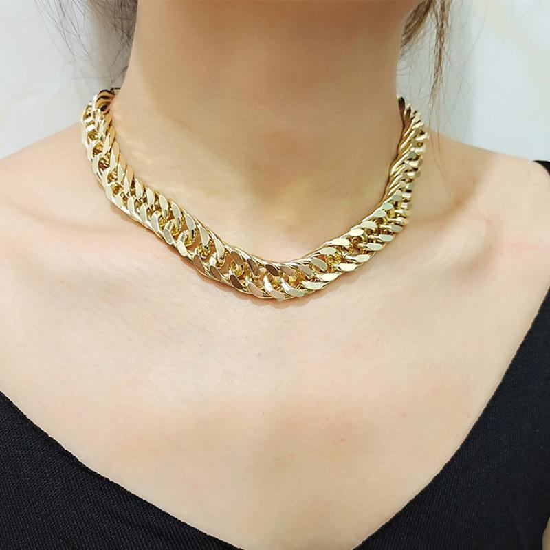 Jewelry simple single-layer ring double buckle exaggerated personalized bracelet set thick chain necklace
