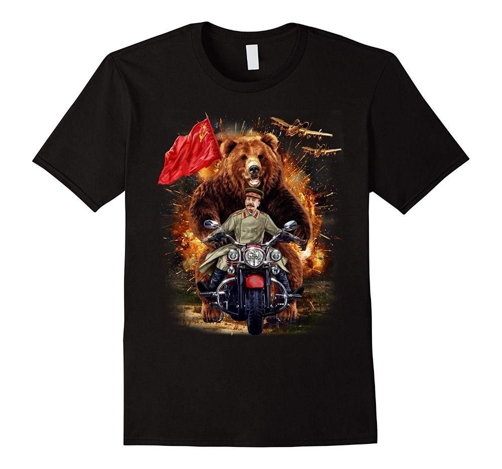 T-shirt Grizzly Bear E Stalin Soviética Na batalha épica 2020 Homens de alta qualidade Tees Nerd Camisetas masculinas de Verão