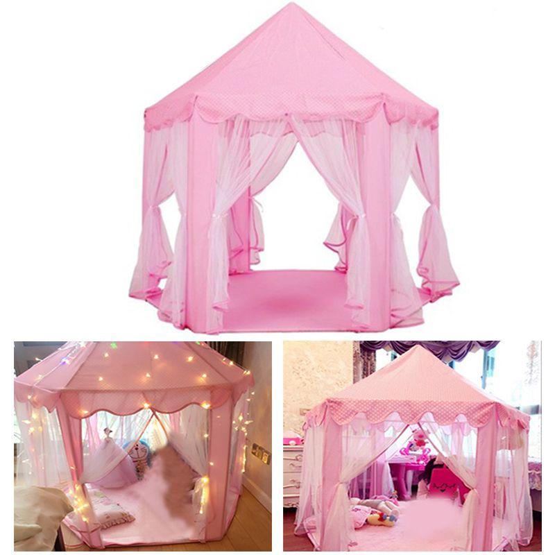 Portable Children's Tent Girls Princess Pink Castle Kids Play House Mosquito Net for Indoor Outdoor Garden Star Curtain Light