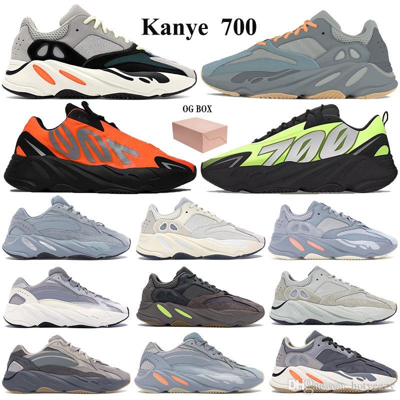 Neue 700 Laufschuhe Kanye Turnschuhe mit Keychain Box OG Fest Grau Teal blau orange Vanta Graffiti orange Männer Frauen Reflective Trainer