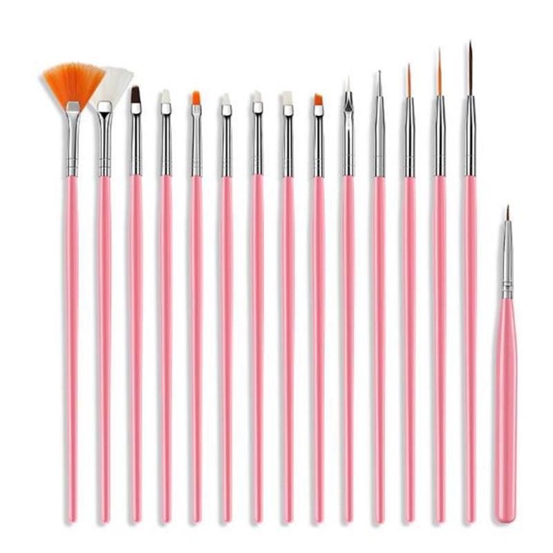 15 Stück Kunststoff-Handgriff-Nagel-Bürste-gesetzte Entwurfs-Gel-Polnisches Malerei Zeichnung Acryl-Gel-Nagel-Bürste für Nägel Kunst-Maniküre-Werkzeuge