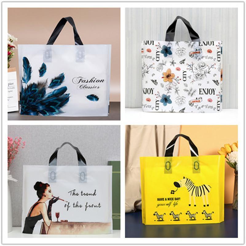 50pcs grueso bolsas grandes de plástico amarillo cebra joyería Cosméticos regalo bolsa de tienda de ropa Embalaje Bolsas con asa Bolsa de la compra