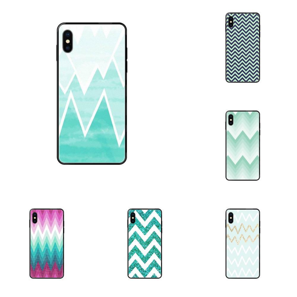 Für Apple iPhone X XR XS 11 12Pro MAX 5S 5C SE 6S 7 8 Plus 2020 weichen TPU Mode Ursprüngliche Mint Blau Zigzag Chevron