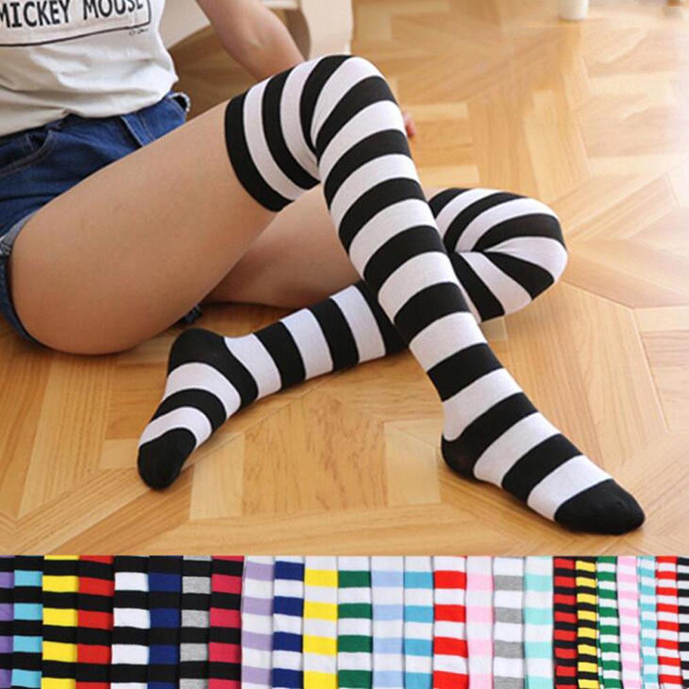نساء بنات أكثر من الركبة طويل الشريط المطبوعة الفخذ العليا مخطط الجوارب القطنية 22 الألوان الحلو لطيف زائد حجم الجوارب Overknee