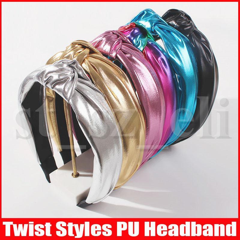 Витая повязка Кожа PU Hairband Глава Обруч для женщин Полые ткачество диапазона волос Headwear Аксессуары для волос