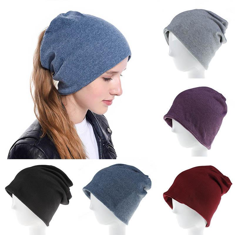 Herbst-Winter-Frauen Beanie Multifunktions-gestrickte Baumwolle Hut Weibliche beiläufige weiche Baggy Cap Solid Color Caps
