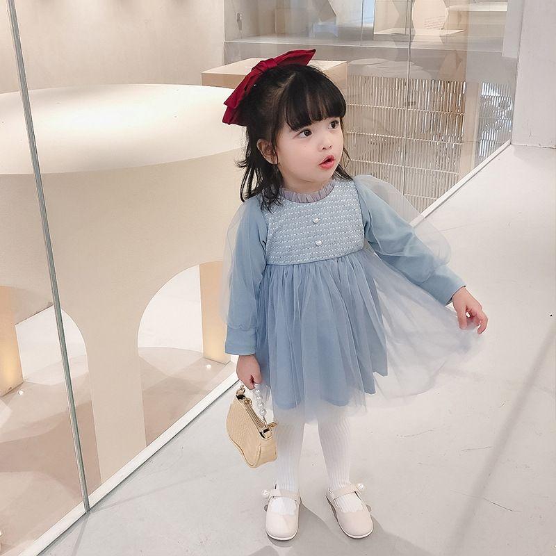 ins pequeño simple vestido X3RB0 la moda de vestir y medianas de los niños 2020 otoño nuevos niños elegantes de la niña