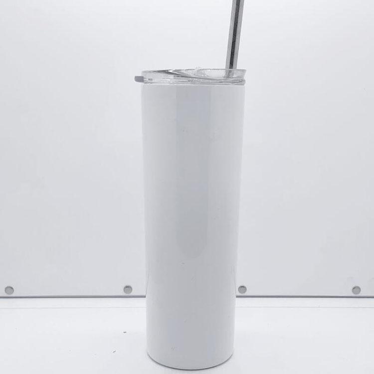 الأمازون حار بيع مخصص 20 أوقية التسامي نحيل بهلوان 20 أوقية فارغة الأبيض الفولاذ المقاوم للصدأ فراغ القهوة القدح مع غطاء القش
