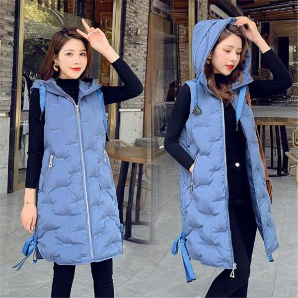 2020 caldo autunno e l'inverno nuovo di media lunghezza con cappuccio gilet giacca gilet in cotone caldo delle donne Panciotto Outerwear