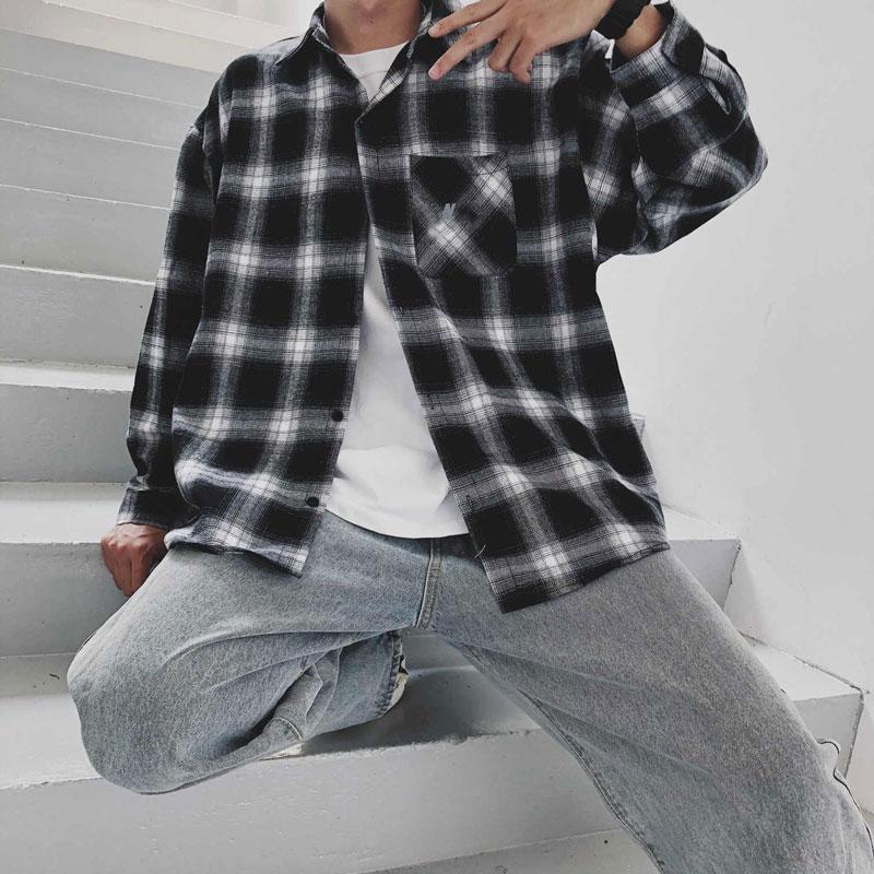 Erkekler Uzun Kollu Casual StreetWear Gömlek Siyah Renk Yüksek Kaliteli Giyim Yeni Erkek Ekose Gömlek Moda Sonbahar Gömlek Ceket