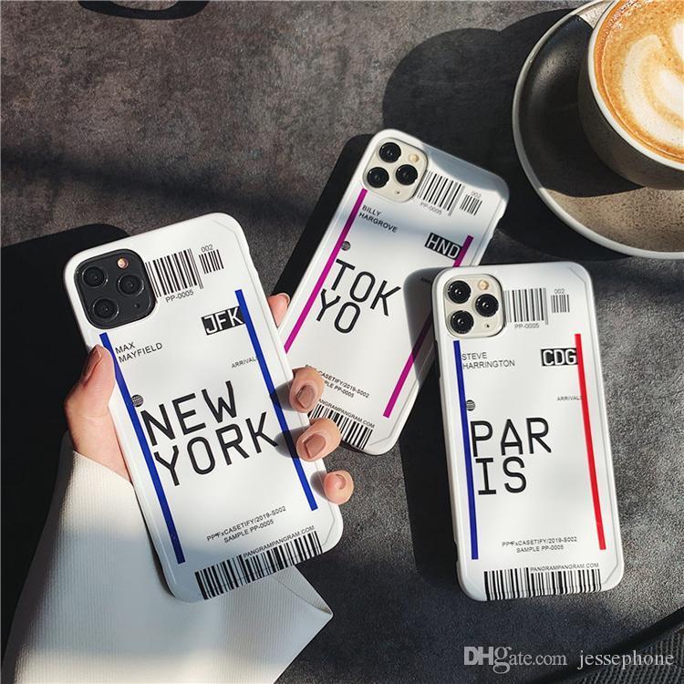 Yüksek Kalite Şeffaf TPU New York Paris Bilet Cep Telefonu Kılıfı iphone 11 pro max 7 8 artı x xr xs max 100pcs için