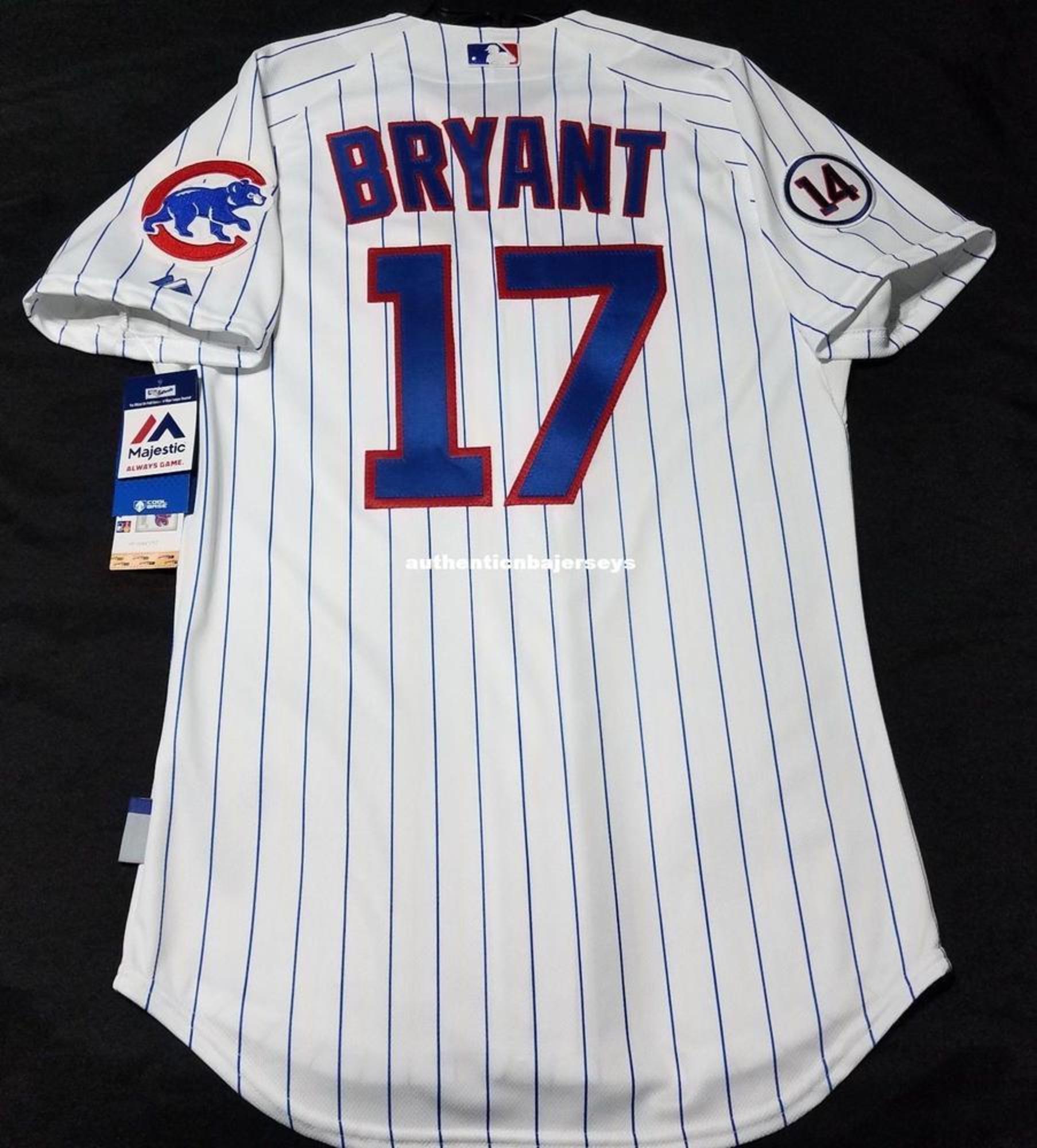 MAJESTIC economici Chicago # 17 PINSTRIPE BRYANT basso freddo Jersey Mens cucito all'ingrosso grande e grosso DIMENSIONE pullover di baseball XS-6XL