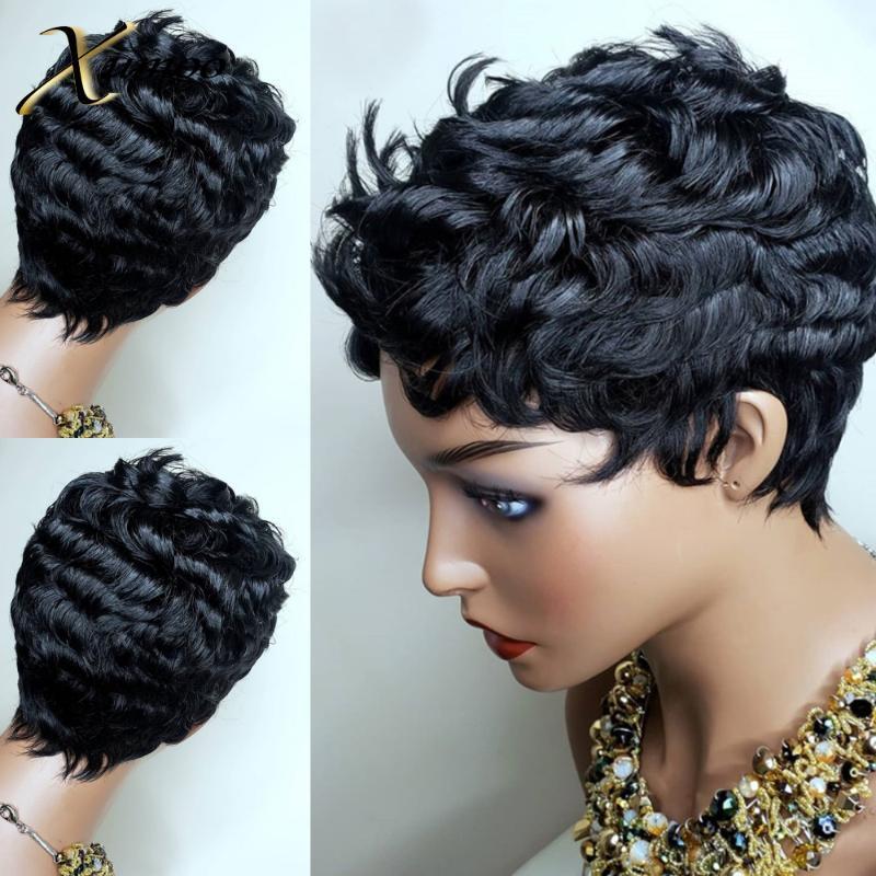 XUMOO Curto Dedo de onda Remy Cabelo Humano Brasileiro peruca preta Pixie Cut peruca completa máquina feita Perucas Curto Cabelo Humano Perucas para mulheres