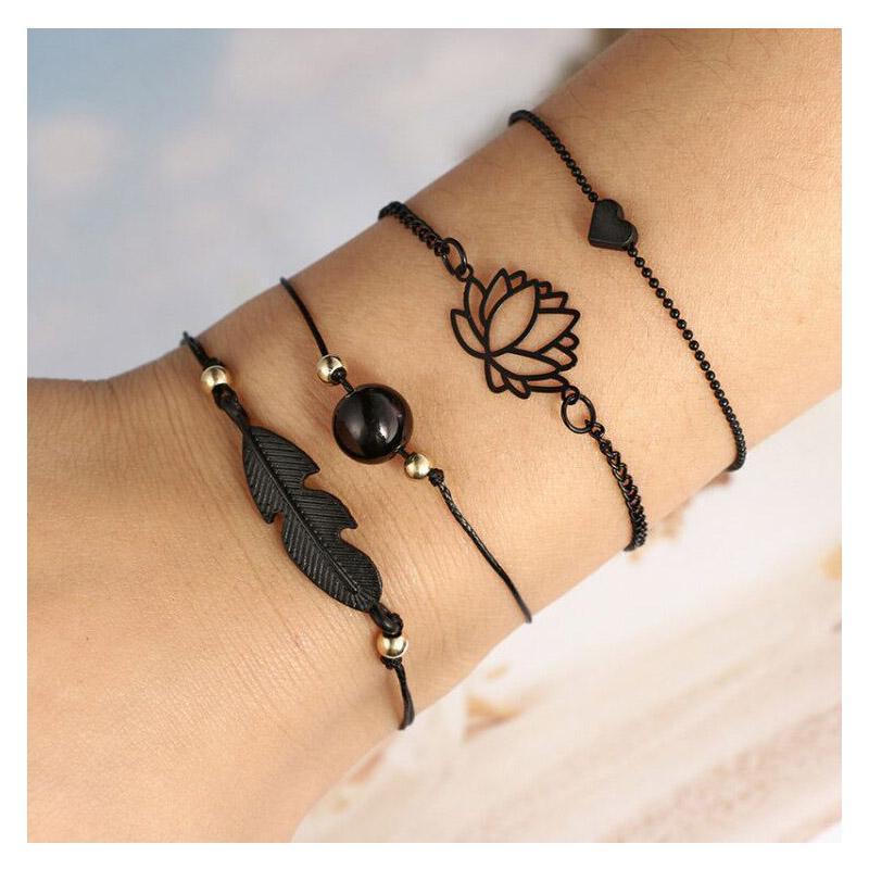 Мода браслеты для женщин Черный Любови лотоса Браслеты шарма сердца Friendship браслет Вырез регулируемых ювелирных изделия
