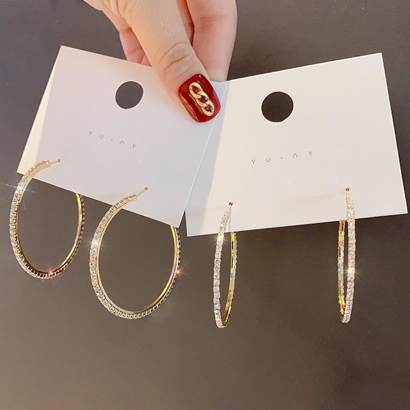 Cor ouro na moda cz zircon cristal gemas grandes pequenas brincos de argola para mulheres jóias moda vintage declaração laço brinco