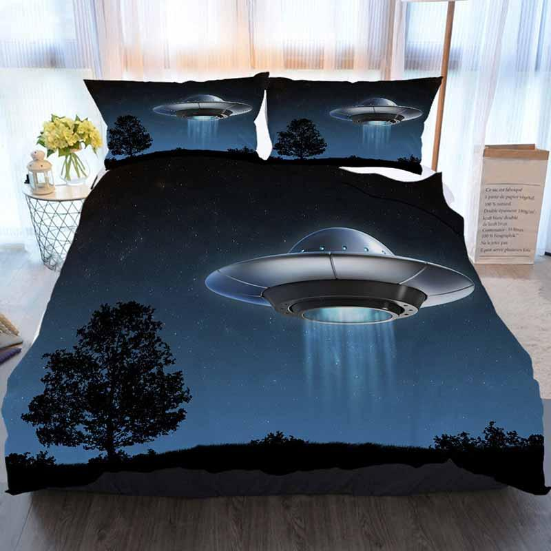 Bedding 3 Piece Duvet Cover Sets,Alien Spaceship 3d Illustration,Home Luxury Soft Duvet Comforter Cover