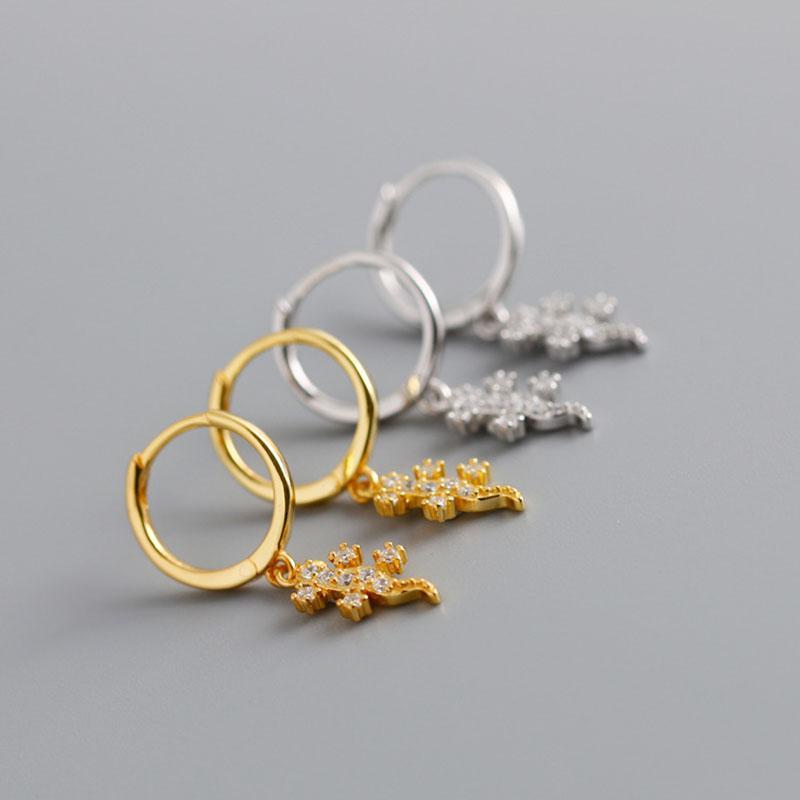 Hoop Huggie Tiny Gecko Серьги из Стерлингового Серебро 925 Золотые Животные Изделия изысканные Изделия для моды Женщины / Годовщина для девочек