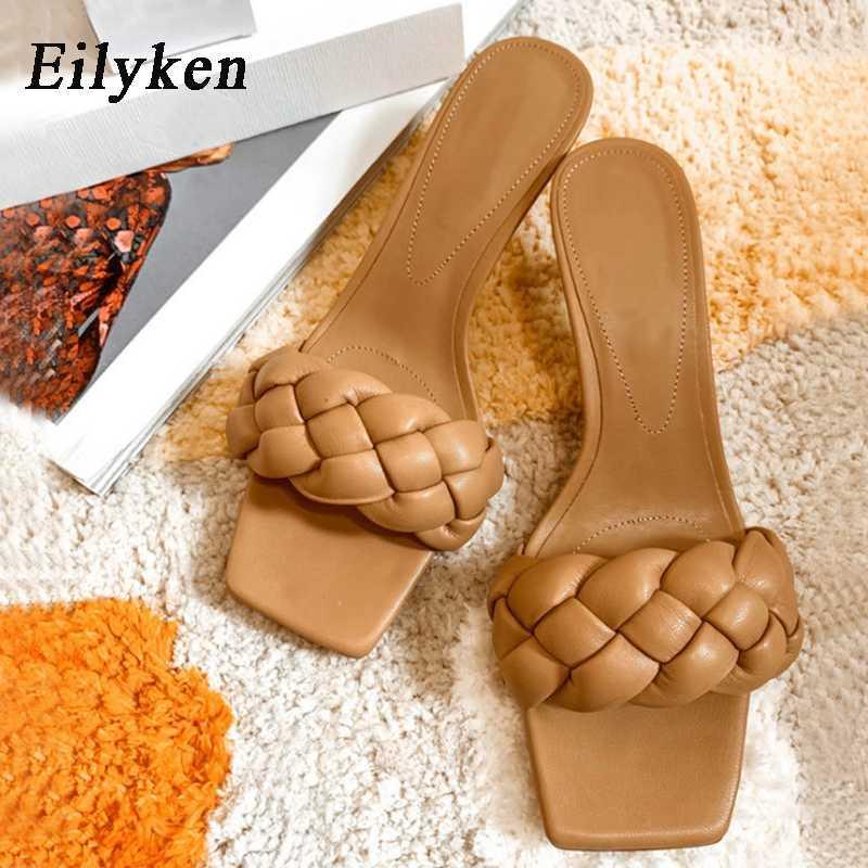 Eilyken Mode für Frauen Slides niedrige Ferse elegante Damen Tanzschuhe Summer Open Zehehefterzufuhren Weave Leder Sandales Femmes