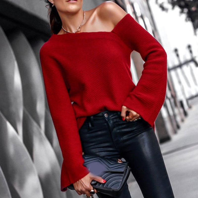 Весна Осень Женщины свитер Перемычка Сыпучие Топы Вязаные Sexy Пуловеры холодное плечо моды свитер для леди высокого качества