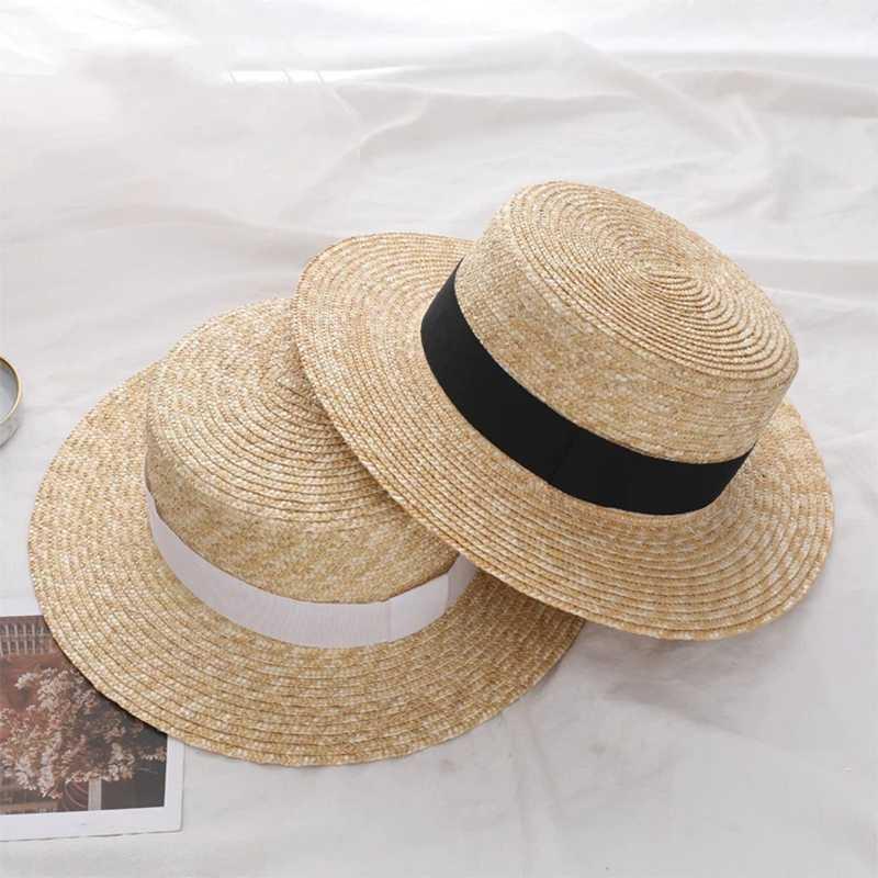 2020 Verão Mulheres aba larga chapéu de palha Moda Chapeau Paille Lady Sun Chapéus barqueiro trigo Panamá Praia Chapéus Chapeu Feminino Caps