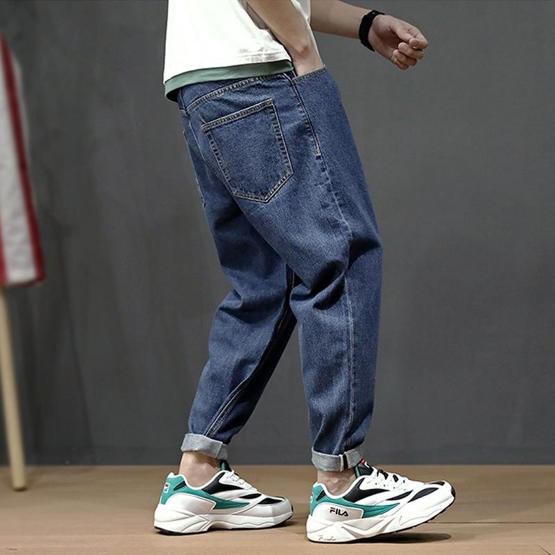 Azul Retro Moda Verão Simples Solta Fit Harem Pants estilo japonês Streetwear Vintage clássicos Taper Jeans Men MX200814