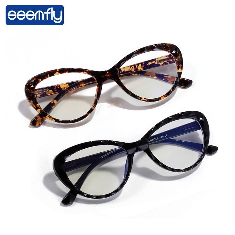 seemfly Cat Eye Wellenmuster Glas-Feld der klassischen Weinlese Anti-blau Licht Brille Rahmen Männer Frauen Anti-Müdigkeit Brillen Marke