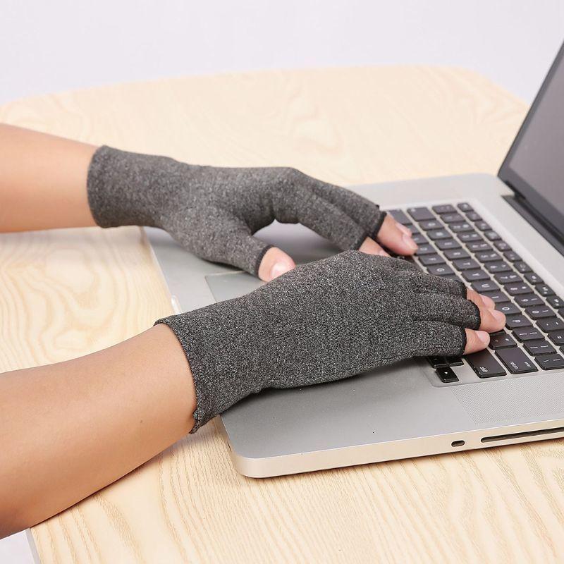 Frauen Männer Arthritis Compression Handschuhe Fingerless Gelenkschmerzen Relief Rheumatoide Osteoarthritis Hand Handgelenkstütze Therapie Fäustlinge 73EZ