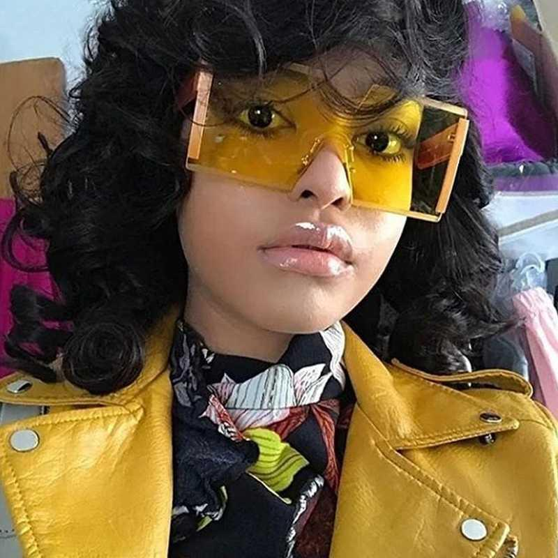 Super Grande quadrado Frameless óculos de sol das senhoras grife Flat Top óculos de sol grandes