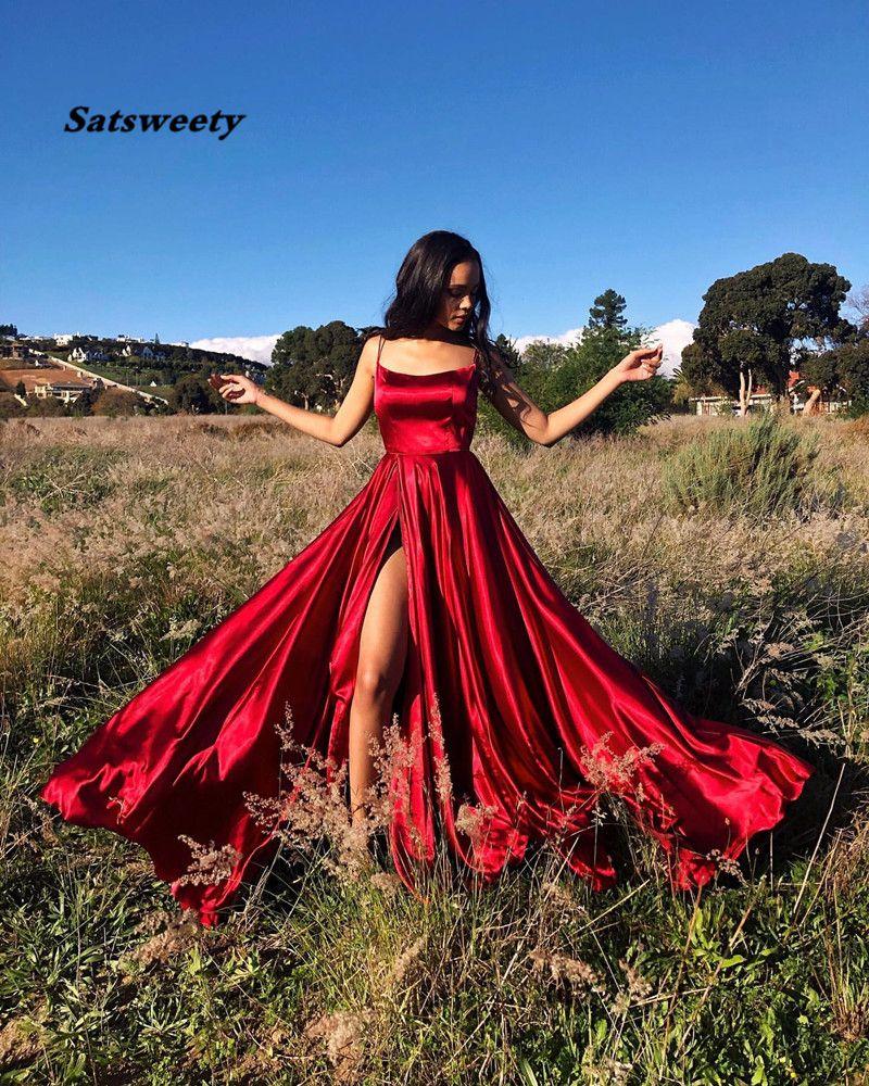 Halter Neck Prom Dresses 2021 Sexy Backless Front Split Satin A-line Prom Party Dress vestidos de festa longo