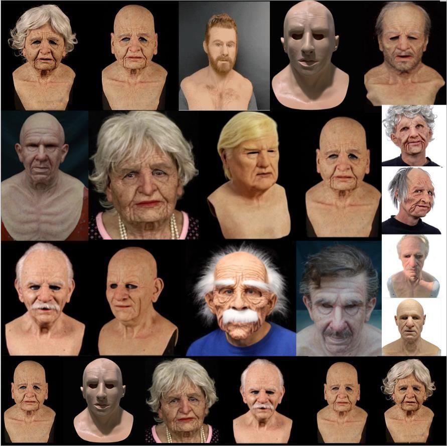 Üst Sınıf% 100 Lateks Yeni Adam İnsan Kadınlar Eski nine veya crossdress kadın maske yaşlı kadın ya da erkek silikon Cosplay Parti Prop Maskesi Büyükbaba