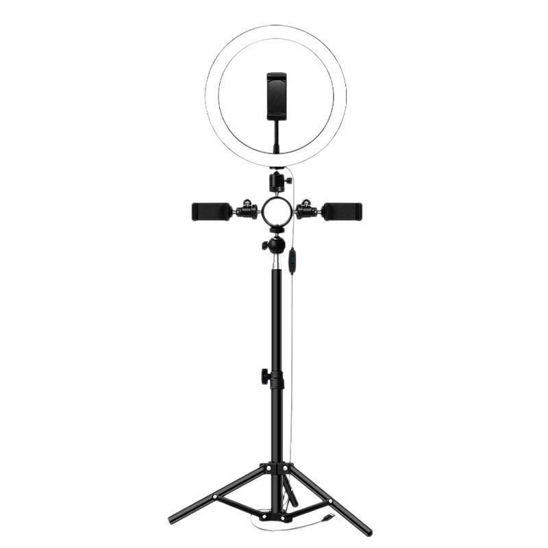 Selfie luz LED Anillo con trípode de 3 titulares de teléfono para maquillaje Fotografía de la cámara de grabación de vídeo en vivo iluminación de la lámpara Corriente