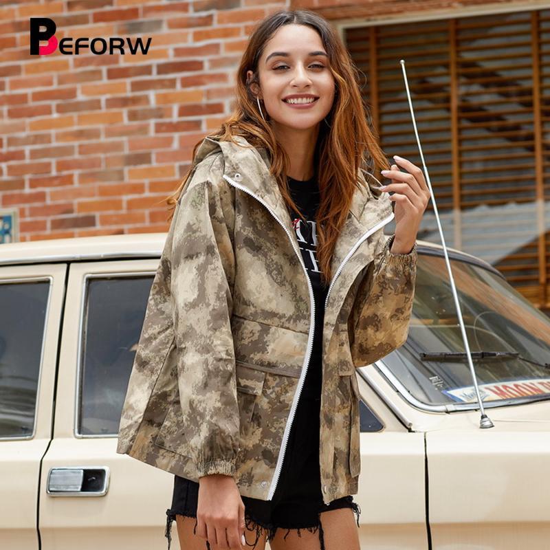 Hot Sale New Mulheres exterior do revestimento do revestimento queda Winter Fashion solto Camouflage revestimentos encapuçados Long Sleeve Pockets Casacos Casual