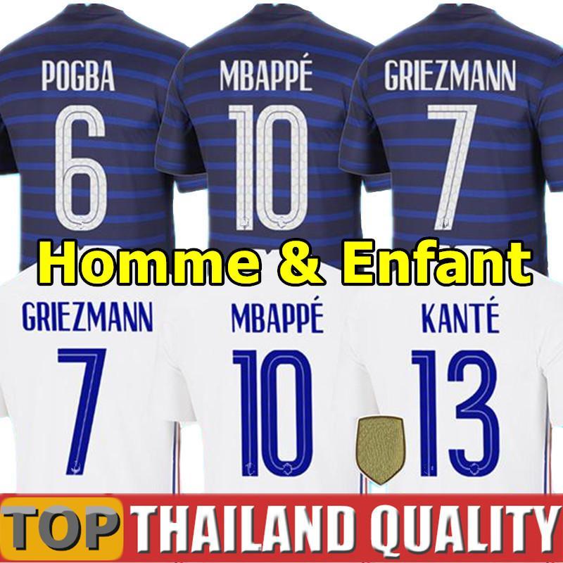France maillots de foot 100e anniversaire de l'UEFA EURO 2020 nouveaux champions de la coupe du monde 2018 GRIEZMANN MBAPPE POGBA KANTE GIROUD Hommes femmes kit enfant uniforme