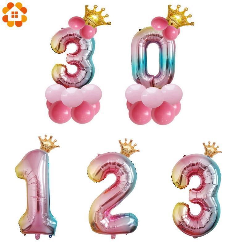 1 juego de 32 pulgadas Número de dígitos del arco iris Foil Globos de aire corona para Niños Niños Niñas feliz cumpleaños del globo del partido del bebé Decoración Ducha