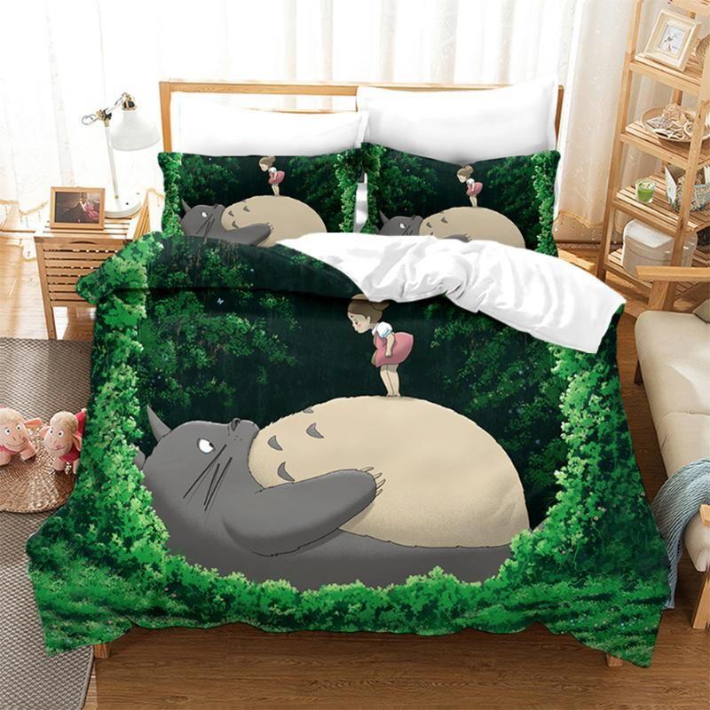Japan Neighbor Totoro Bedding Set Duvet Cover Kawaii Cute Bedding Set Twin Queen King Size Comforter Bed Dropshipping