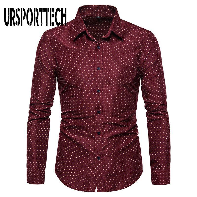 URSPORTTECH Imprimir camisa de manga longa Men Tamanho Grande Regular Fit elegante Camisas Casual Masculino de vestido do negócio Camisa Camisas Masculina T200914